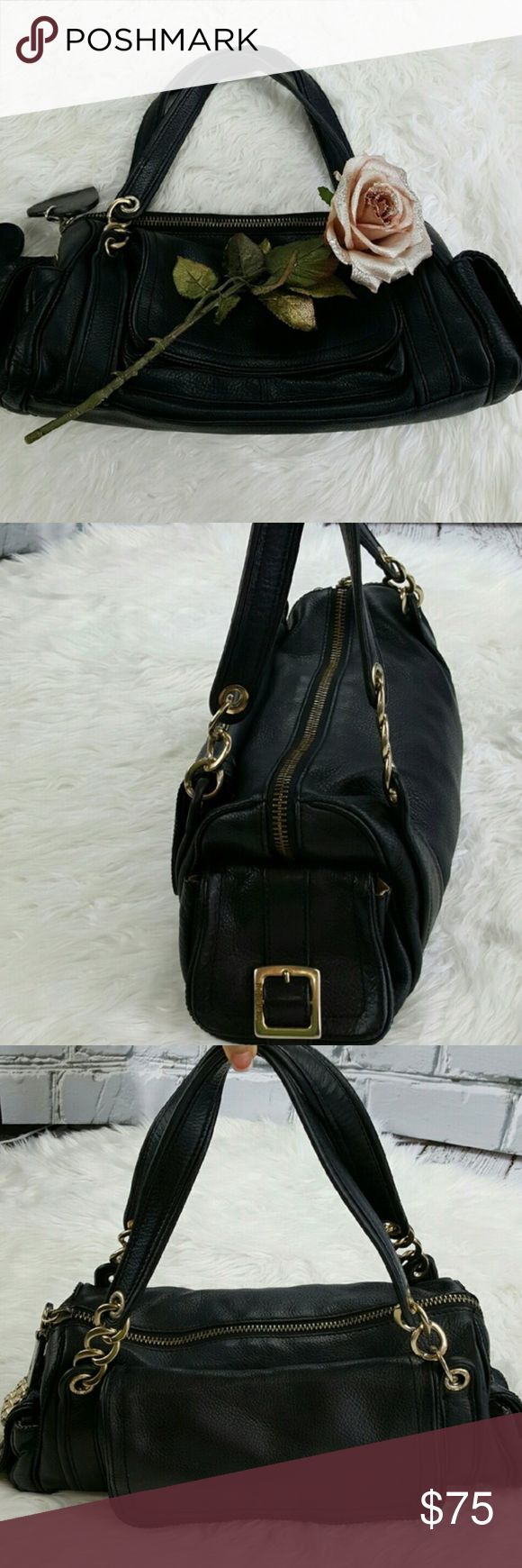 "💕SALE💕Juicy Couture Black Leather Satchel Bagv Fabulous 💕Juicy Couture Black 100% Leather Satchel Bag with 3 outside pockets one large in front and 2 on sides. Inside Zippered Compartment and multi purpose pockets rabbits foot and embellished Juicy Tag 17"" W x 8"" H Great Condition plenty of room for all your goodies High Quality Bag Juicy Couture Bags Satchels"