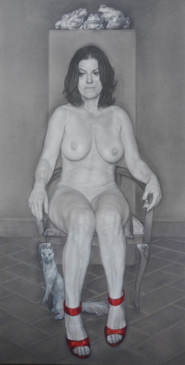 """the judges"" 2014 cm 75x150 pencil,white conté and oil pastels on gray paper on panel"