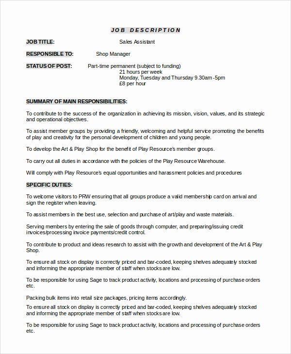 20 Assistant Store Manager Job Description Resume In 2020 Job