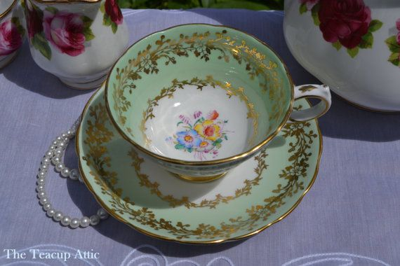 Grosvenor Pale Green Floral Teacup and Saucer by TheTeacupAttic