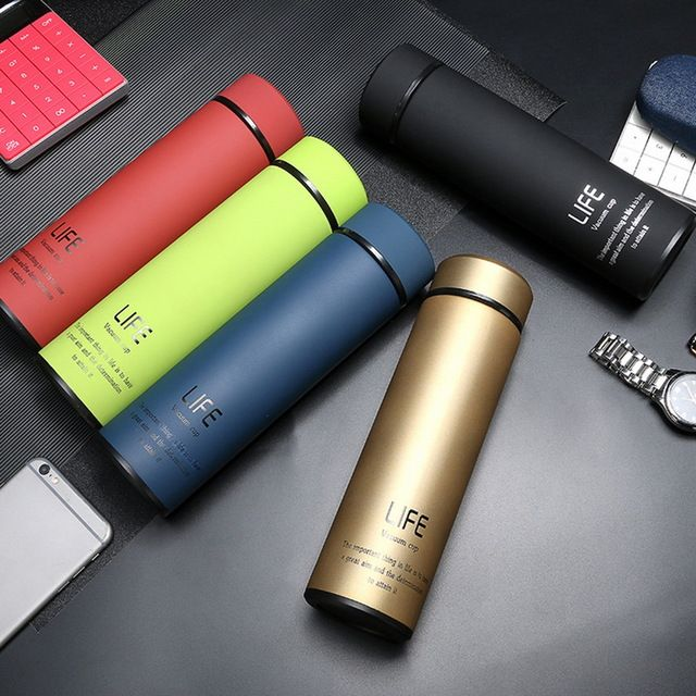 Thermos Bottle Water Vacuum Flask With Filter Stainless Steel Thermal Cup 500ml