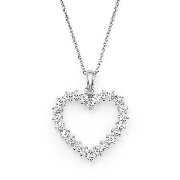 Diamond Heart Pendant Necklace in 14K White Gold, .50 ct. t.w. (1,335 NZD) ❤ liked on Polyvore featuring jewelry, necklaces, white, open heart pendant necklace, white gold heart necklace, pendant necklace, chain necklaces and open heart diamond necklace