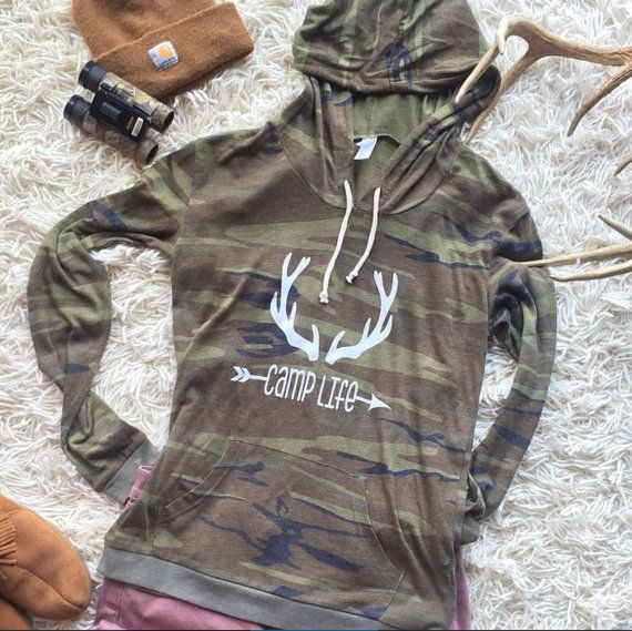 Deer camp life camo hoodie by HomeGrownTXDesigns on Etsy