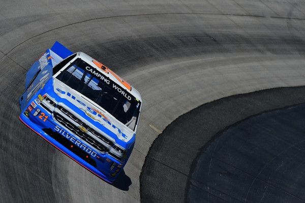 Johnny Sauter, driver of the #21 Allegiant Airlines Chevrolet, practices for the NASCAR Camping World Truck Series Bar Harbor 200 presented by Sea Watch International at Dover International Speedway on June 1, 2017 in Dover, Delaware.