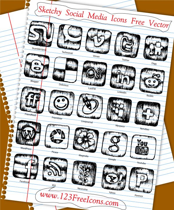 Sketchy Social Media Icons Free Vector Social media
