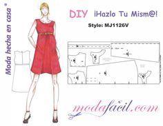 Descarga gratis los Moldes de Vestido de Maternidad disponibles en 12 tallas listos para cortar