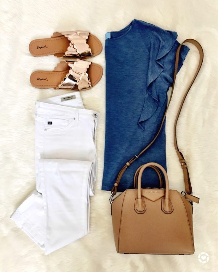 IG: @mrscasual | Chambray top, white jeans, rose gold slides, & Givenchy bag