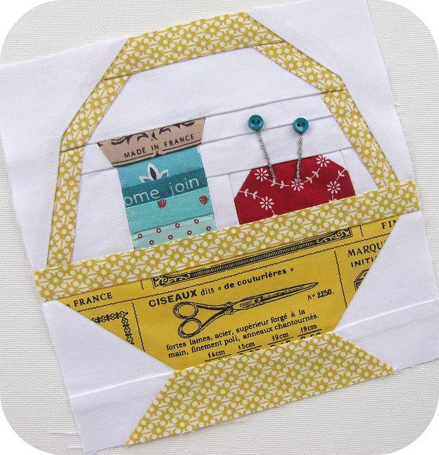 sewing basket paper piecing