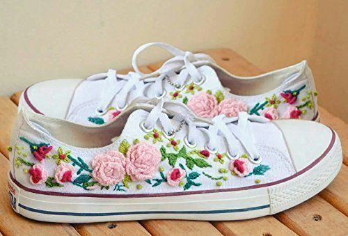 51f8958e6a85e Amazon.com: Handmade Embroidered Floral Sneakers, One of a Kind ...