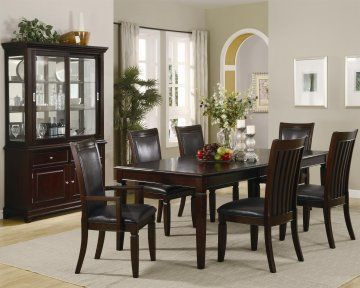 The 7 Piece Extendable Formal Dining Room Set with Tapered Legs by True Contemporary will create a stunning, formal setting in your dining room. An 20-inch leaf will allow you to conveniently extend the table to fit more family and friends for larger gatherings. The warm, dark brown finish and flared back legs.The dark brown vinyl padded chairs for comfortable seating. #Furniture #diningTable #extendable #Formal #modern #Contemporary