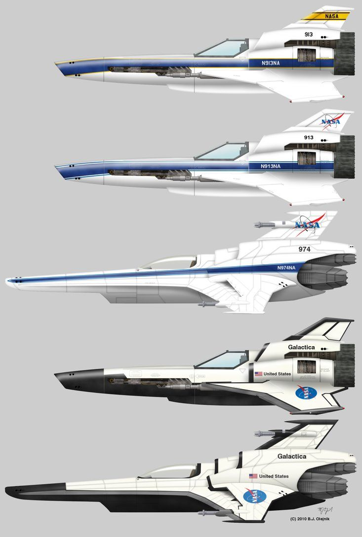 Engine 1 2 3 etc unmanned etc some vipers based on some of the various nasa chase plane liveries and the space shuttle livery battlestar galactica