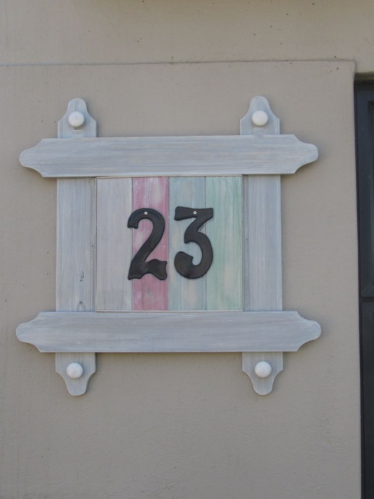 House number from left over wood