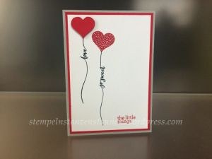 Handmade card with Stampin' Up!, Stamp Hello Life, Cardstock Real Red, Smoky Slate, Whisper White, Ink Memento Black, Real Red  https://stempelnstanzenstaunen.wordpress.com/