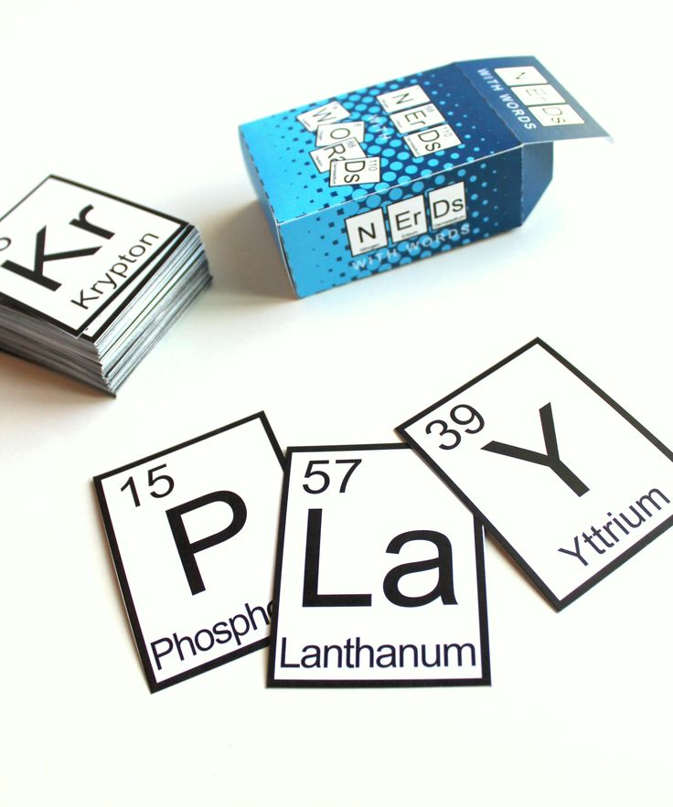 Geek Up! Nerds with Words Game – Periodic Elements Game – PDF FILE  Are you planning a geeky party? Then this game is just what you need! It's a word game that uses the letter symbols from the periodic table. (The only letter in the English alphabet not used on the periodic table is J.)