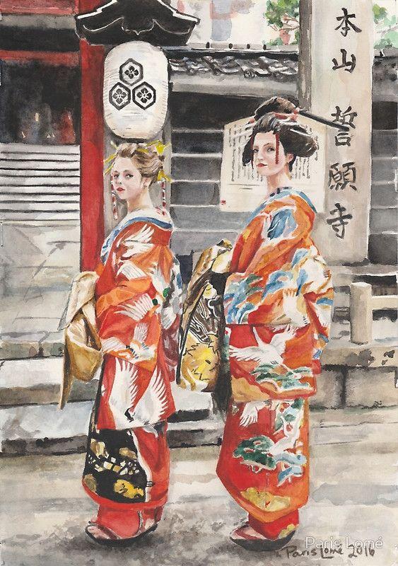 Geisha Girls Watercolour Painting by Paris Lomé