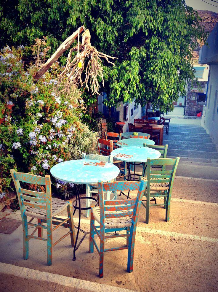 Aegiali, Amorgos Island #amorgos #terrace #restaurant