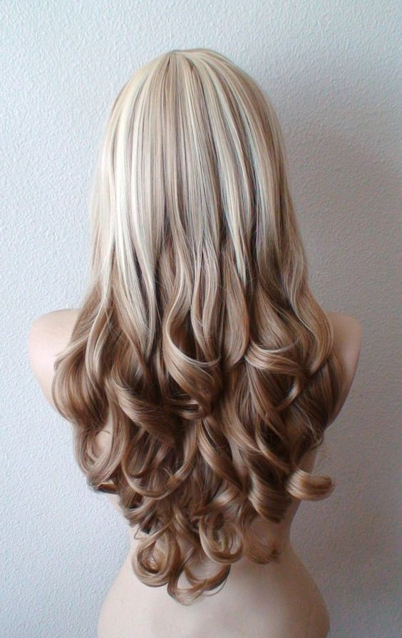 Blonde / Brown Ombre hair wig. Long curly hair long by kekeshop