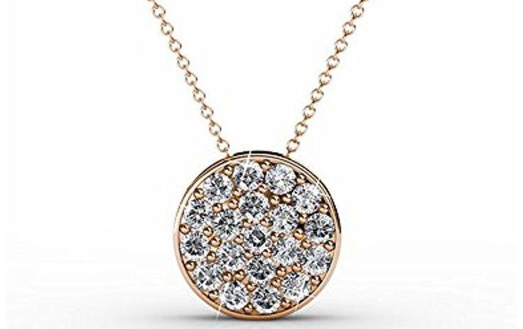 Amazon Prime Deals 18K White Gold Rose Swarovski Crystal Necklace NEW GIFT