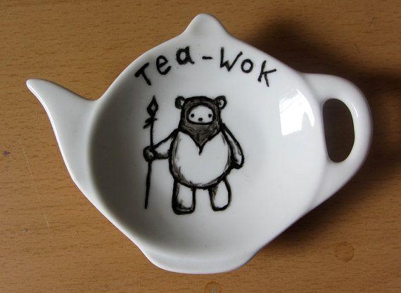 Ewok Tea Bag Tidy - Star Wars Homewares - Chestnut or Green - spoon rest