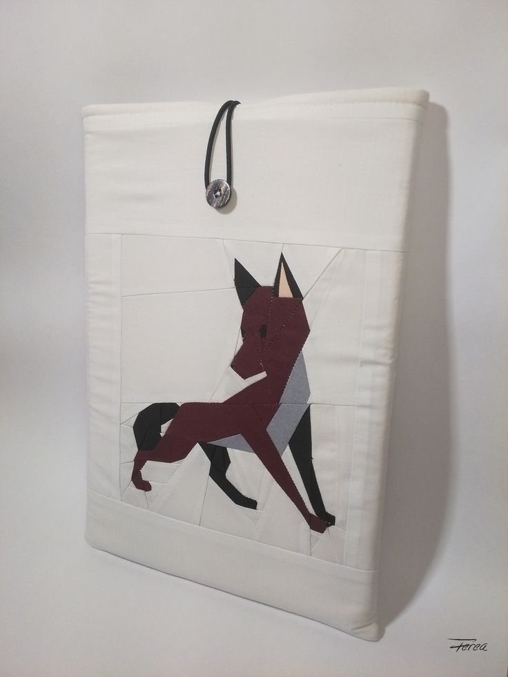 Dog / fox paper pieced quilt block designed by Ferea Laptop sleeve