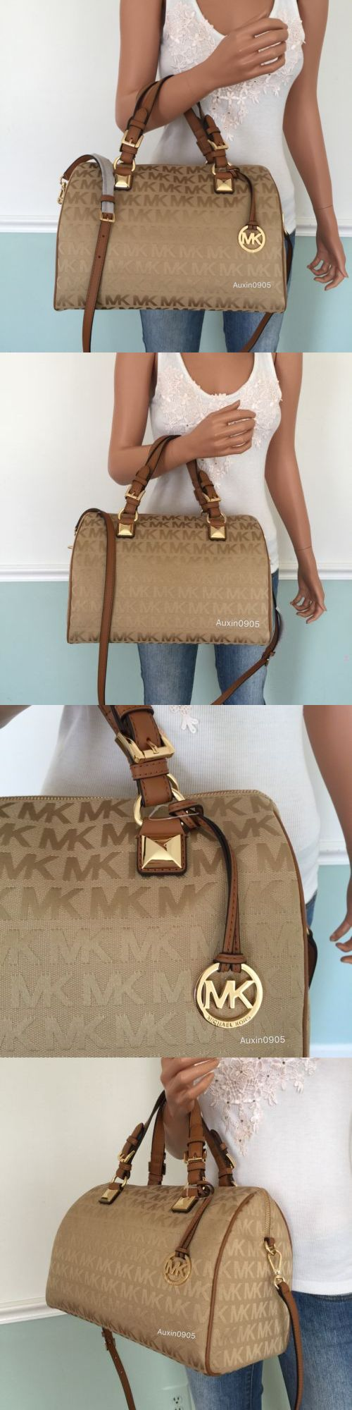Women Handbags and Purses: New! Michael Kors Brown Mk Signature Large Satchel Tote Shoulder Crossbody Purse BUY IT NOW ONLY: $219.0