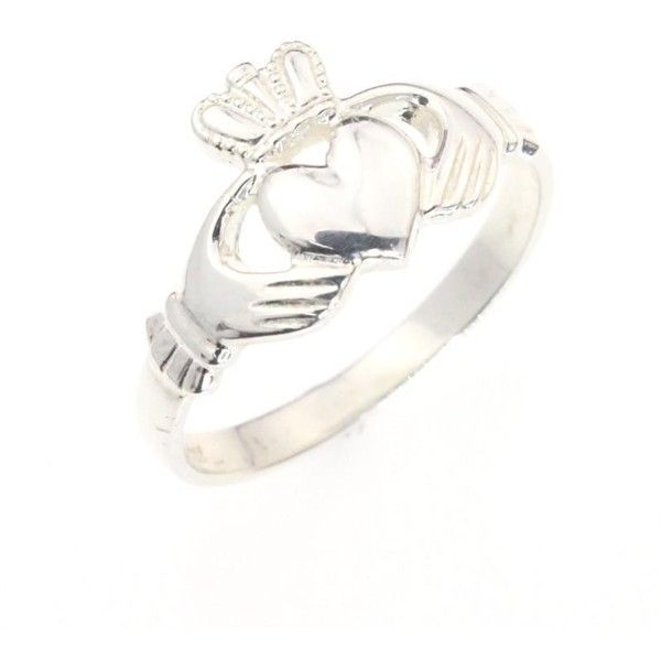 Claddagh ring, ladies silver claddagh ring ❤ liked on Polyvore featuring jewelry, rings, silver celtic rings, celtic silver jewellery, celtic rings, silver rings and celtic jewelry
