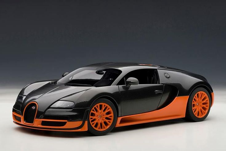 AUTOart: Bugatti Veyron Super Sport   Carbon Black W/ Orange Side Skirts  (70936) In 1:18 Scale | Carbon Black, Super Sport And Bugatti Veyron