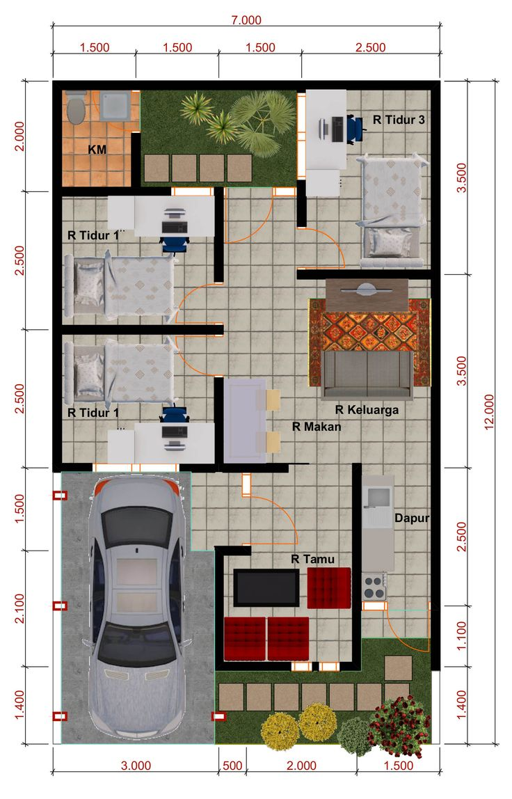 Desain Rumah Minimalis Perumahan Griya Mas Sidoarjo. DENAH Type 55. http://goo.gl/AhwIY6