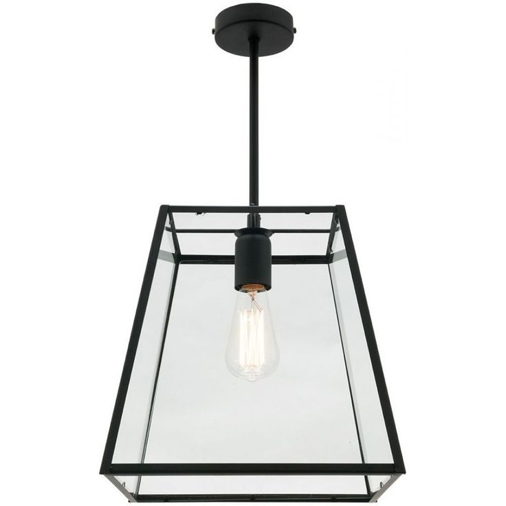 Manchester Large 1Lt PendantMG6221LMatt Black with Clear Glass.Rods Supplied.110cm cord.Swivel Under Canopy.Suits E27 Max 60W.