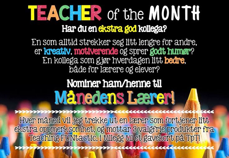 Nominer en kollega til Månedens Lærer <3 https://www.facebook.com/teachingfuntastic