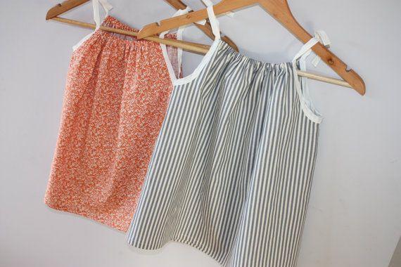 SALE  Size 2-3  Toddler Dress  Orange  Grey by RainbowSparklesBlue