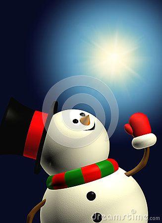 Cartoon snowman holding christmas star over dark background