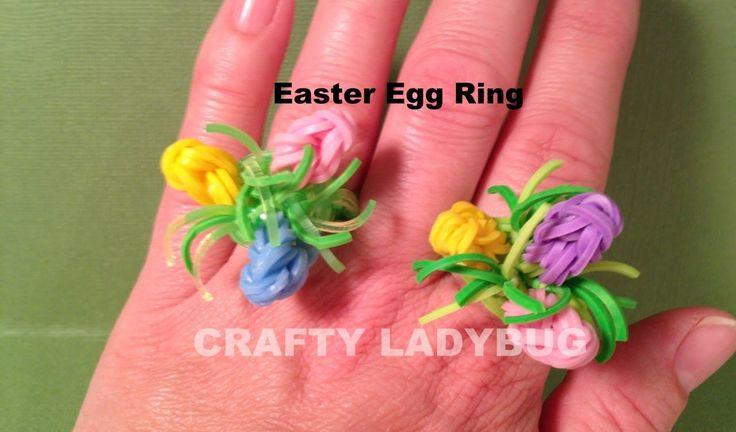 Rainbow Loom Charm EASTER EGG RING How to Make by Crafty Ladybug by Crafty Ladybug