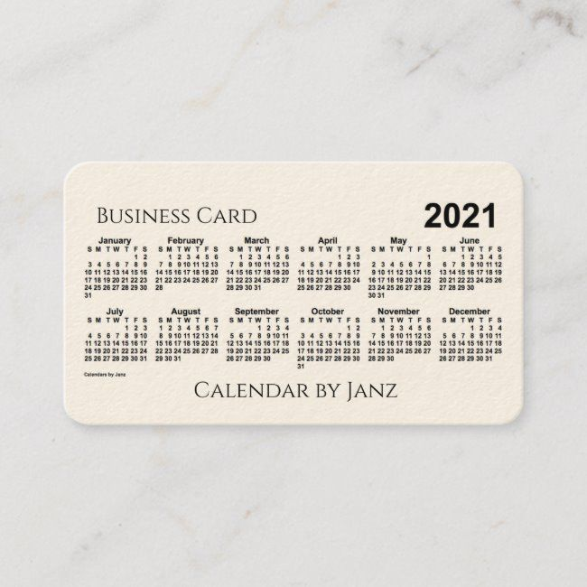 2021 Calendar By Janz Cream Rounded Corners Business Card Zazzle Com In 2020 Round Business Cards 2021 Calendar Printing Double Sided