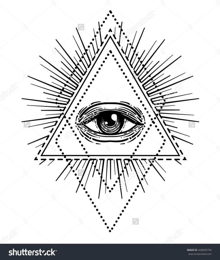 Blackwork tattoo flash. Eye of Providence. Masonic symbol. All seeing eye inside triangle pyramid. New World Order. Sacred geometry, religion, spirituality, occultism. Isolated vector illustration.