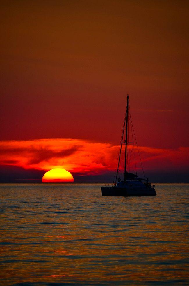 Sunset Sailing off Oia, Santorini