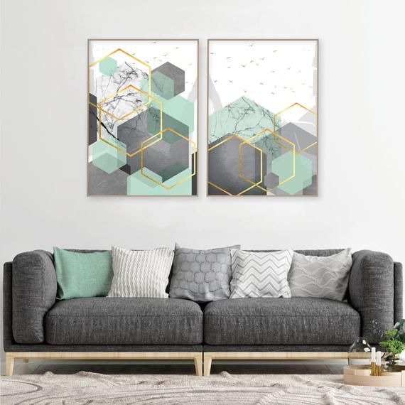 Set Of 2 Mint Green Grey Gold Downloadable Geometric Prints Printable Geometric Wall Art Abstract Geometric Download Hexagon Art Set Mint In 2020 Mint Green Bedroom Mint Living Rooms Mint Green Decor