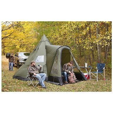 Guide gear deluxe teepee tent 14 39 x 14 39 teepees gears for Build your own canvas tent