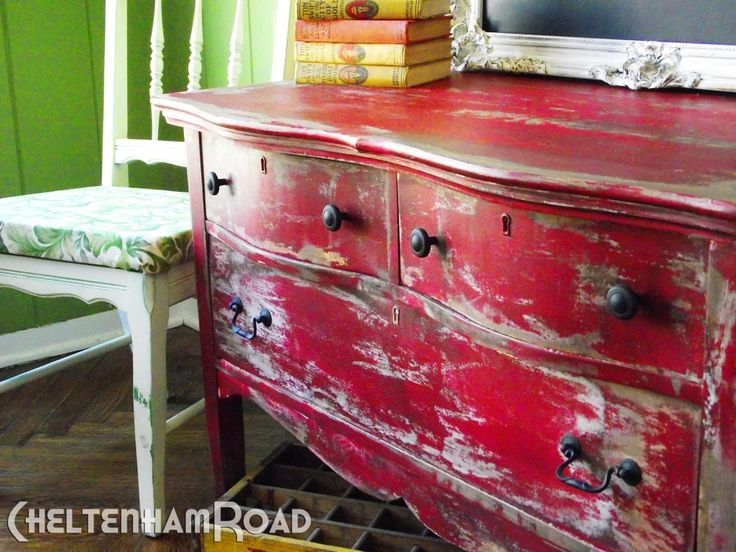 Superb Rustic Red Dresser Makeover