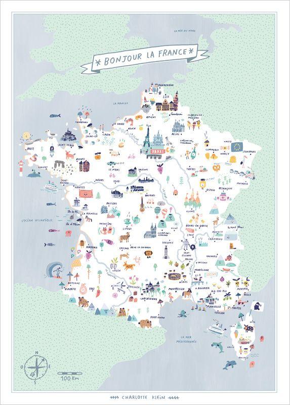Affiche Illustration Carte de France pour Chambre d'Enfant - Charlotte Klein