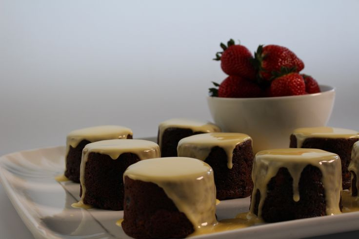 Chocolate Fruit Mince Puddings w/ Custard & Strawberries. A chocolatey dessert that's a hit with both kids and adults. http://www.youtube.com/watch?v=AY7tBVMFTaE&list=PLZ-CbFpL2a-tm0yVPnxg8vnJkgyJHIlHg&index=5 #Woolworths #recipe #dessert #chocolate
