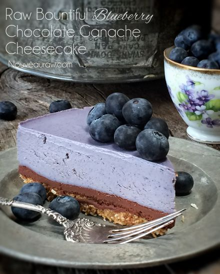 Bountiful Blueberry Chocolate Ganache Cheesecake With the silk-like texture of the blueberry cheesecake filling, the thick richness of chocolate ganache