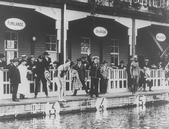 A swimming event at the 1920 Antwerp Games in Belgium.