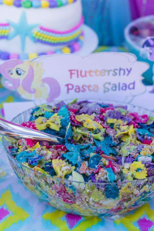 Rainbow pasta salad at a My Little Pony birthday party! See more party planning ideas at CatchMyParty.com!