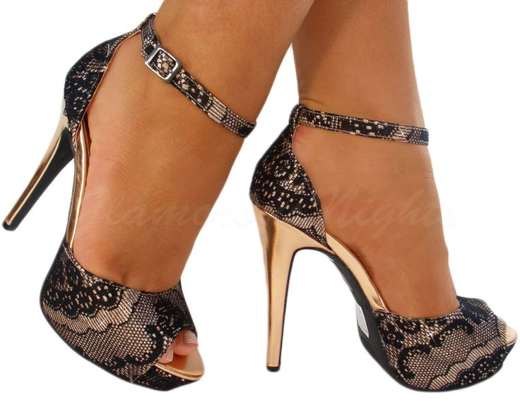 LADIES ROSE GOLD METALLIC GLITTERY ANKLE STRAP HIGH HEEL SHOE LACE ...