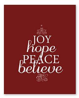 Joy Hope Peace Faith: 35+ Free Christmas Printables!