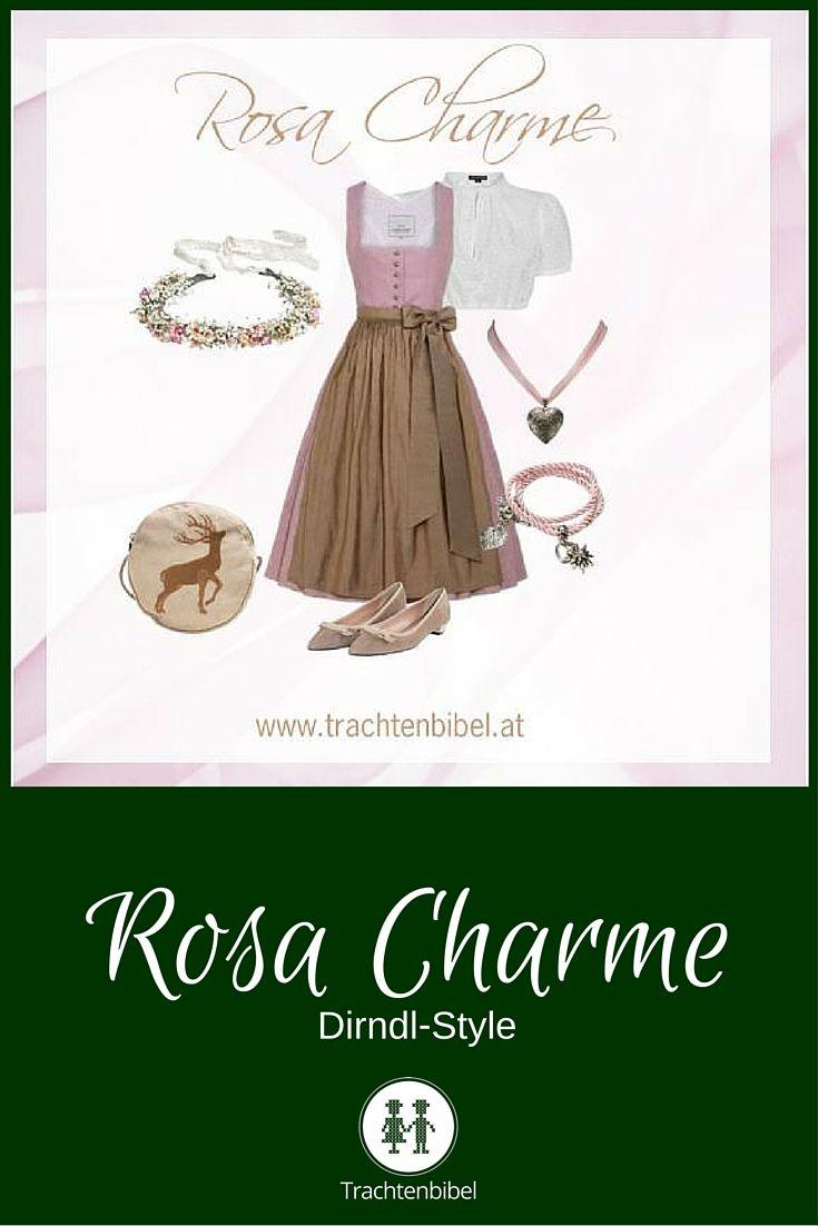 Das Knie umspielende Dirndl von Berzaghi & Freymann verzaubert in Rosa und Taupe. Dirndl-Style Rosa Charme mit passenden Accessoires zum Nachshoppen!
