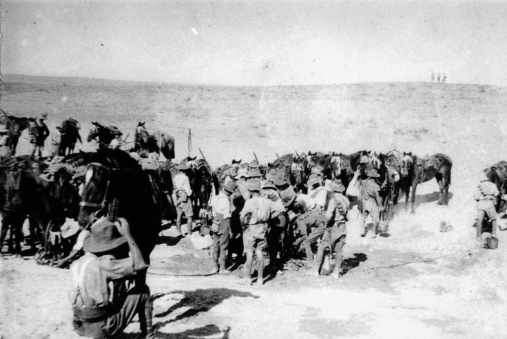 Mounted soldiers from the 4th Light Horse Brigade in Palestine ca. 1915, John Oxley Library, State Library of Queensland Neg:182314