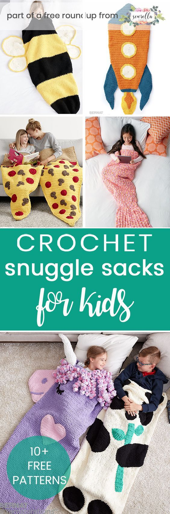 Crochet these easy snuggle sack blanket afghans for kids and adults with my free pattern roundups!