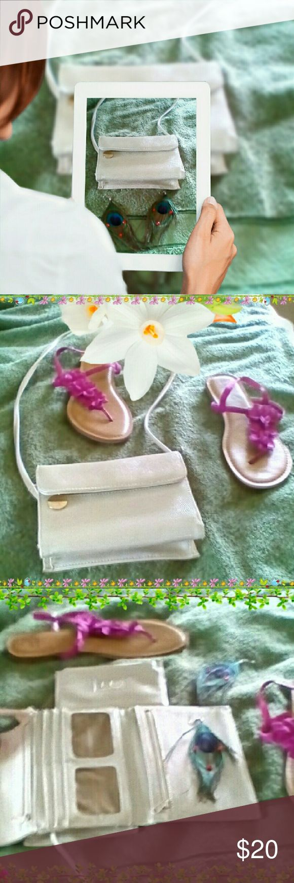 Liz Claiborne Crossbody Wallet ( Final Price Sale) White Liz Claiborne Crossbody Wallet with detachable magazine and room enough for all your credit cards. The wallet has lovely gold accents and zipper. Liz Claiborne Bags Wallets